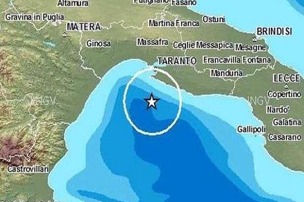 scossa terremoto nel Golfo di Taranto