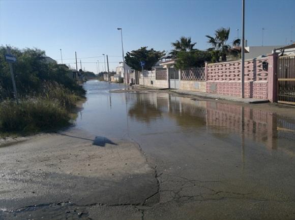 strade allagate a Torre Chianca