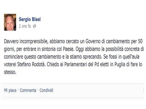 post FB di Sergio Blasi