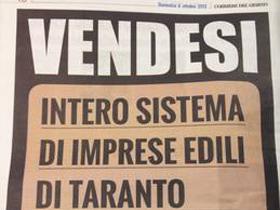 Crisi: Ance Taranto pubblicizza 'vendesi imprese edili'