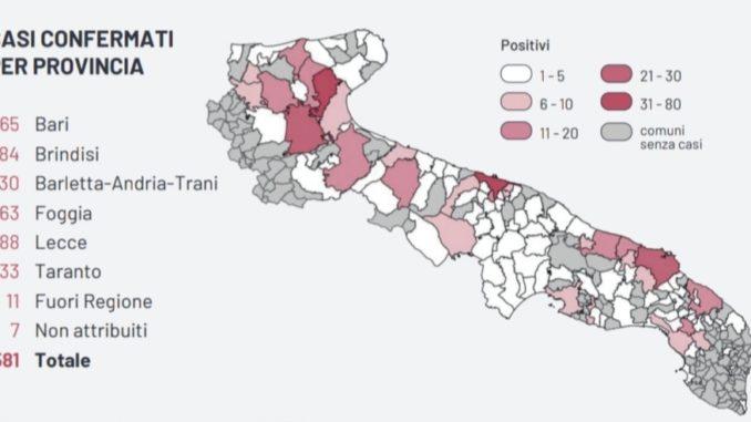 Cartina Puglia Zona Lecce.Covid 19 Salgono A 551 I Contagi In Puglia 17 A Lecce Ecco La Mappa Telerama News
